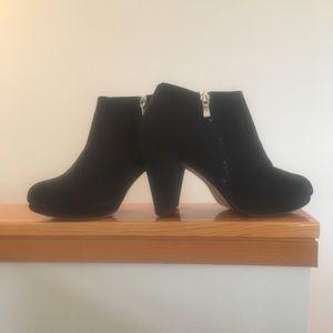 MTNG black booties heels with zipper.